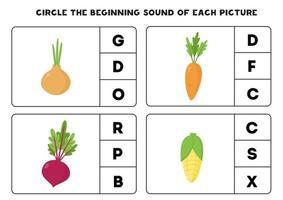 Worksheet for kids. Find the beginning sound. Cartoon vegetables. vector