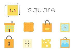 Learning basic geometric form for children. Cute square. vector