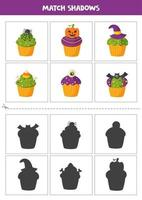 Find shadows of cute wild Halloween muffins. Cards for kids. vector