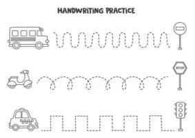Tracing lines with black and white transport. Writing practice. vector