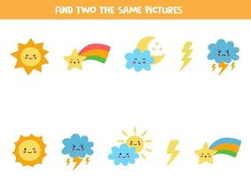 Find two identical weather objects. Educational game for preschool children. vector