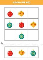 Sudoku game for kids with cartoon Christmas balls. vector