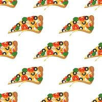 Bright seamless pattern with slices of pizza. Fast food print with vegetables and cheese. Design for textile, paper, cafe and restaurant vector