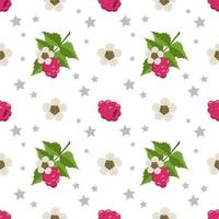 Seamless pattern with raspberries, flowers and leaves. Cute print of summer or spring berries with stars. Cute holiday decoration for textiles, wrapping paper and design vector