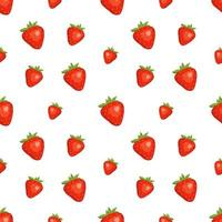Seamless background with red strawberries. Cute summer or spring print. Festive decoration for textiles, wrapping paper and design vector