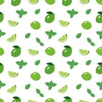 Cute seamless bright pattern of citrus fruits and mint leaves on a white background. Print with whole lime, slices. A set of fruits for a healthy lifestyle vector