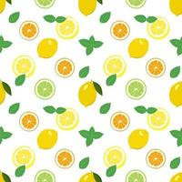 Seamless bright spring and summer pattern with lemon, tangerine, orange and lime and mint slices and leaves. A set of citrus fruits for a healthy lifestyle vector