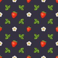 Seamless pattern with strawberries, flowers and leaves. Cute summer or spring berry print on a dark background. Festive decoration for textiles, wrapping paper and designs vector