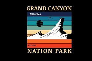 grand canyon nation park arizona color orange green and blue vector