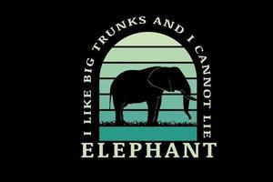me gustan los baúles grandes no puedo mentir elefante color verde degradado vector