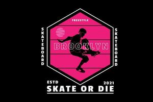 skateboard freestyle brooklyn color pink and white vector