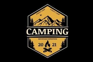 forest camp mountain expedition color yellow vector