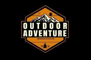 outdoor adventure mountain expedition color yellow and cream vector