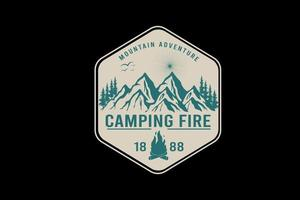 mountain adventure camping fire color cream and green vector
