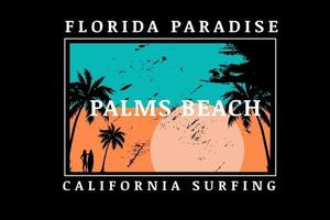 florida paradise palms beach california surfing color green and orange vector