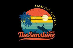 amazing florida the sunshine state color orange yellow green and blue vector