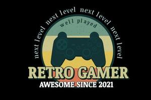 retro gamer awesome since 2021 color orange yellow and green vector