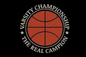 varsity championship the real champion color orange and cream vector