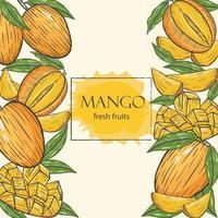Background with mango vector illustration