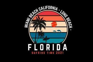 miami beach, california, silueta, diseño, estilo retro vector