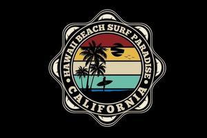 diseño de silueta de paraíso de surf de miami beach vector