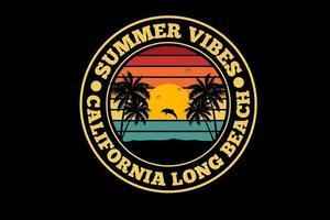 summer vibes california long beach silhouette   design vector