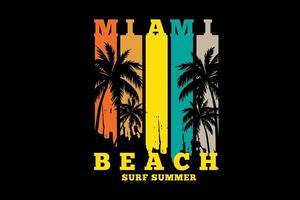 miami beach surf verano silueta estilo retro vintage vector