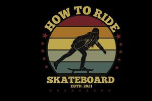 how to rode skateboard silhouette design vector