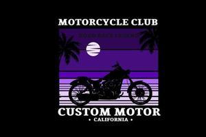 club de motocicletas carrera en carretera leyenda motor personalizado color púrpura degradado vector