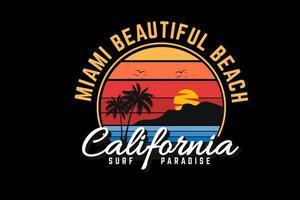 diseño de silueta de playa hermosa de miami vector
