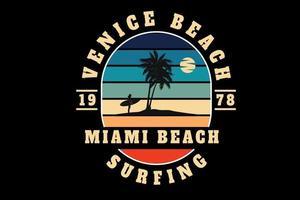 venice beach miami beach surf color naranja azul y crema vector