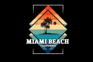 miami beach california color verde naranja y crema vector