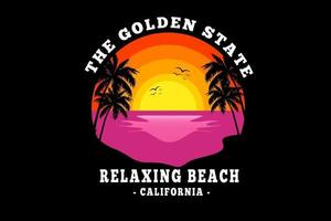 the golden state relaxing beach california color orange yellow and pink vector