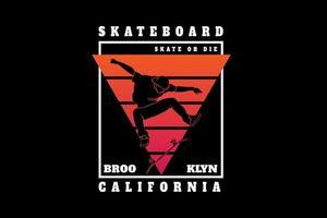 skateboard Brooklyn california color orange and red vector