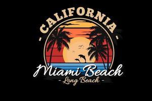 diseño de silueta de playa de miami vector