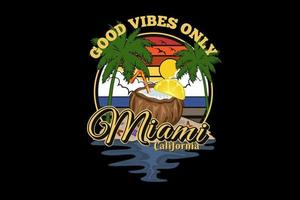 buenas vibraciones miami california silueta diseño vector