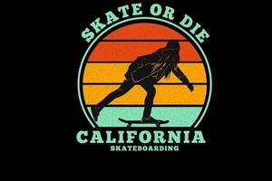 california skateboarding silhouette design vector