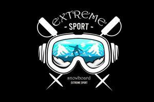 Snowboard silhouette design with retro background vector