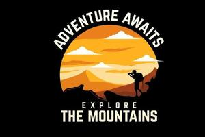 adventure awaits silhouette design with retro background vector