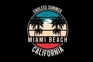 diseño de silueta de playa de miami sin fin vector