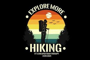 man hiking  silhouette design with retro background vector