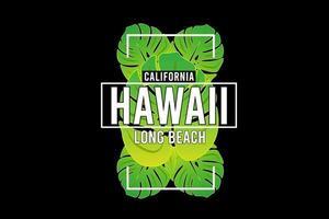 hawaii long beach design with tropical leaf vector