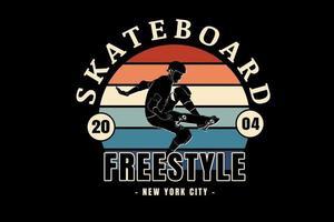 skateboard freestyle new york city color orange cream and green vector