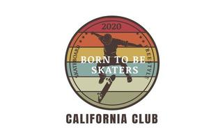 skateboard freestyle born to be skaters color orange yellow and brown vector