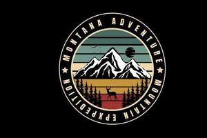 montana adventure mountain expedition color green cream and red vector