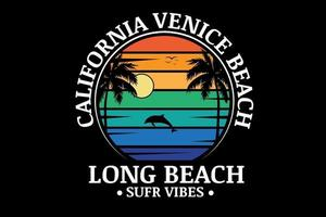 California venice beach long beach surf vibes color orange green and blue vector