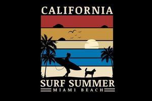 california surf summer miami beach color rojo crema y azul vector