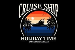 cruise ship holiday time  color orange and blue vector
