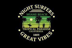 surfistas nocturnos miami beach paraíso tropical california color verde degradado vector