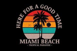 miami beach paraíso tropical color naranja verde y crema vector